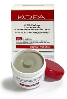 Крем-маска для жирной и комбинированной кожи лица на основе сульфидных грязей от КОРА (1)