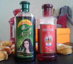 Индийские масла для волос Dabur от Hair Oil и Amla Red Oil от Navratna