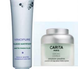 Сравнение матирующих эмульсий Vinopure Matt Finish Fluid от Caudalie и IDEAL CONTROL Powder Emulsion от Carita