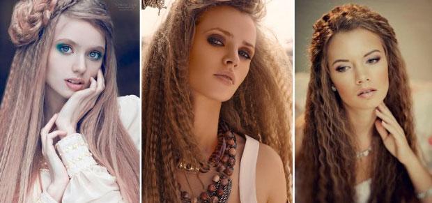 Прическа на длинные волосы гофре