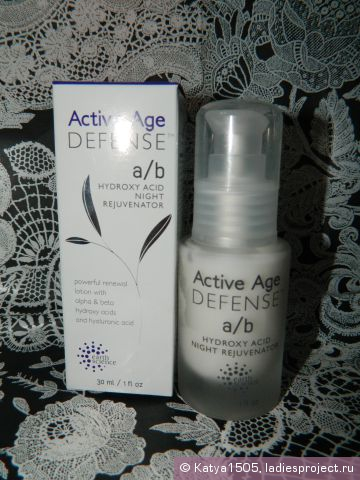 Сыворотка для лица с кислотами Active Age Defense A/B Hydroxy Acid Night Rejuvenator от Earth Science фото 1