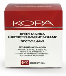 Крем-маска для лица с фруктовыми кислотами ЭКСФОЛИАНТ от Кора (2)