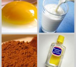 Питательная маска для тёмных волос из какао, репейного масла, кефира и яичного желтка своими руками