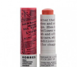 Бальзам-стик для губ Colour Mandarin Lip Butter Stick SPF 15 (оттенок Peach) от Korres