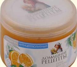 """Скраб для теля антицеллюлитный """"Лайм и апельсин"""" на основе морской соли от Домашние рецепты"""