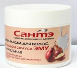 Крем-маска для волос с маслом страуса Эму питательная от Сантэ