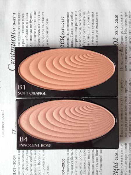 Румяна Make-Up Accentuating Powder Blush (оттенки B4 Innocent Rose и B1 Soft Orange) от Shiseido