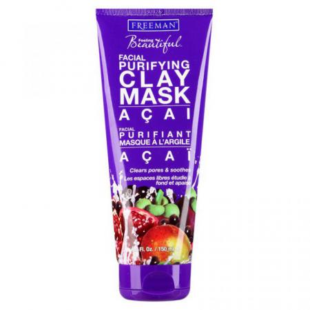Очищающая глинянная маска для лица с экстрактом асаи от Freeman