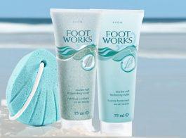 Тонизирующий скраб  и увлажняющий бальзам для ног с морской солью от Avon