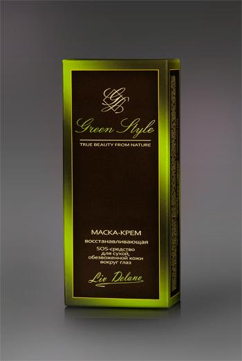 """Восстанавливающая маска-крем для сухой, обезвоженной кожи вокруг глаз """"Green Style"""" от Liv Delano"""